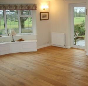 Lounge wooden floor refurbishment after