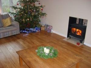 Hardwood lounge floor
